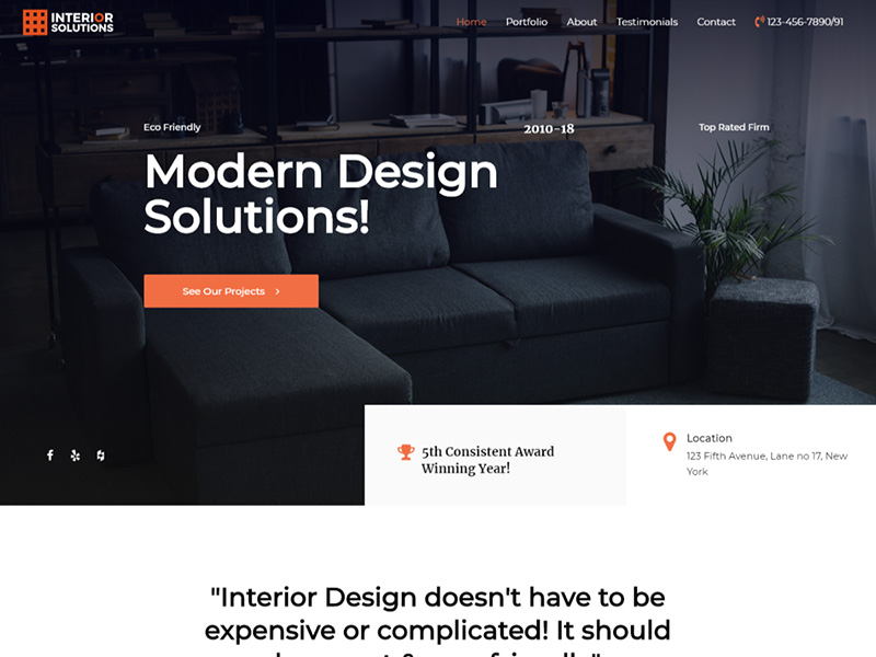 Interior Design Firm – 室内设计模板WordPress主题