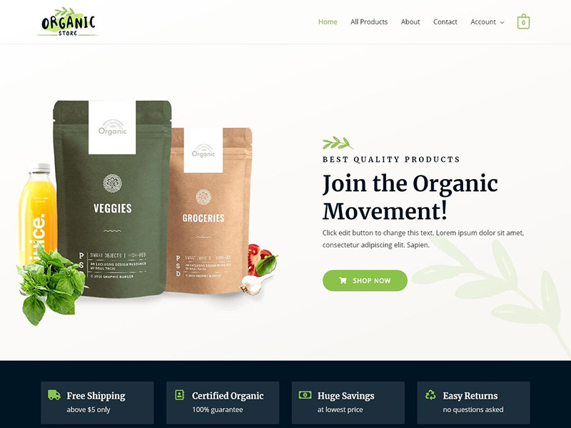 Organic Store – 食品茶饮模板WordPress主题