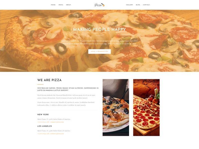 Pizza – 食品茶饮模板WordPress主题