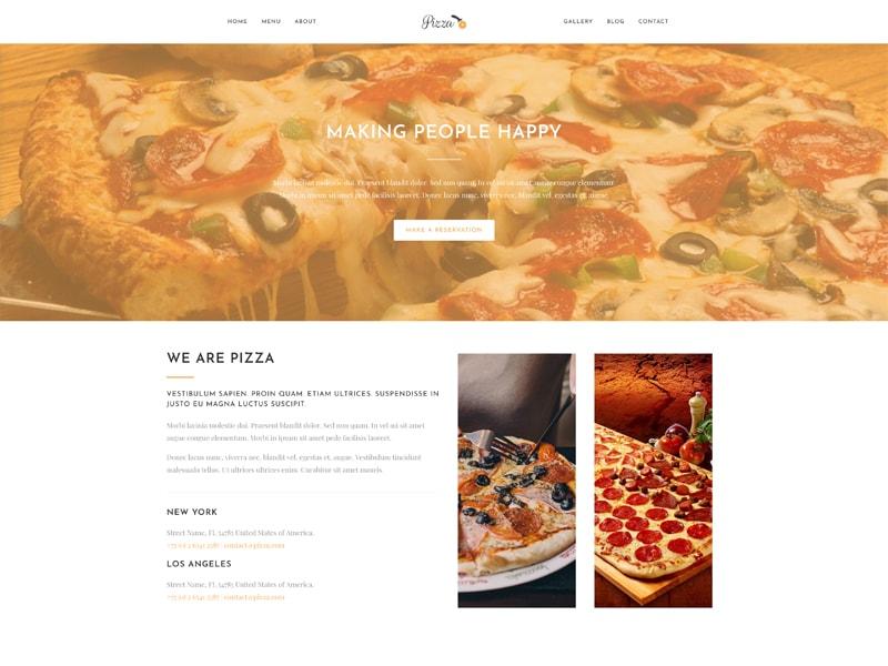 Pizza – 食品茶饮模板WordPress主题