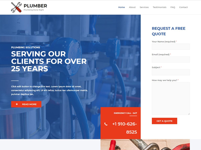 Plumber – 家具建材模板WordPress主题