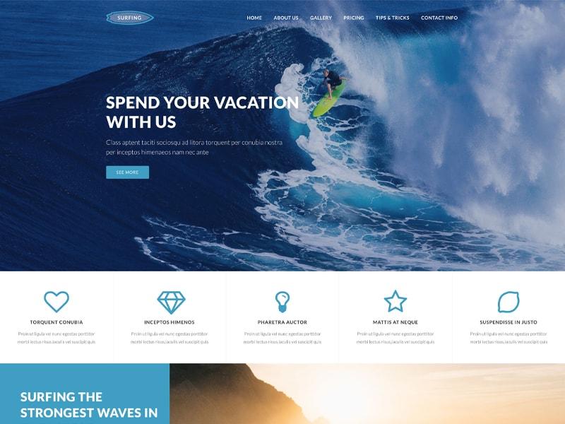 Surfing – 运动户外模板WordPress主题