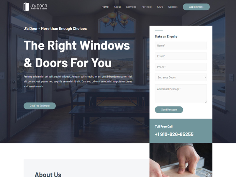 Windows & Doors Services – 家具建材模板WordPress主题
